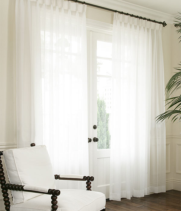 Sheer curtain ideas for bedroom - White Sheer With Optional White Taffeta Top Band Amp French Pleat